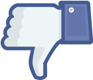 Facebook social media marketing. Thumbs down